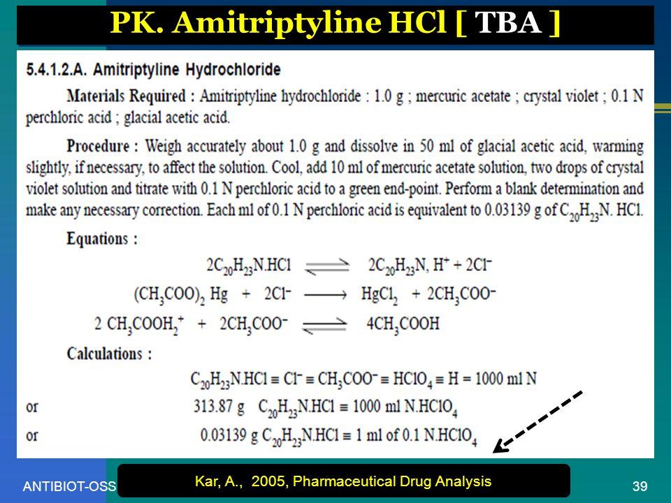 PK. Amitriptyline HCl [ TBA ]
